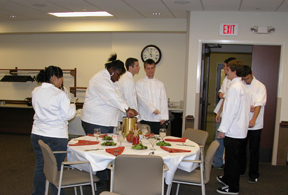 Culinary Arts students preparing the NJCAA hospitality room.
